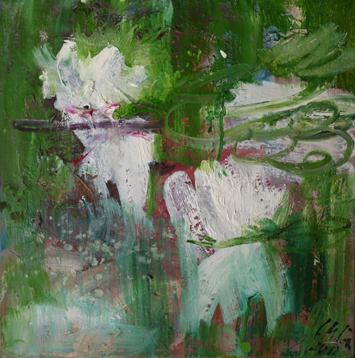 Christl Maria Goethner, Malerei, Leipziger Schule, Weiße Seerosen_IIx